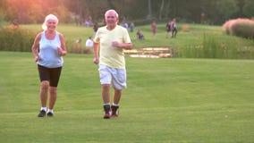 Bejaarde paarjogging stock videobeelden