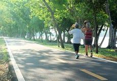 Bejaarde paarvrouwen die oefening lopen bij het park in het middaglicht royalty-vrije stock fotografie