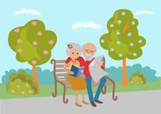 Bejaarde paarzitting op de parkbank en gelezen Vectorillustratie in vlakke stijl stock illustratie