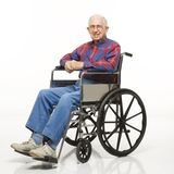 Bejaarde in rolstoel. Stock Foto's