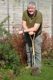 Bejaarde tuinman die op zijn spade rust. Stock Foto