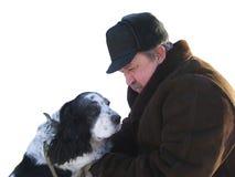 Bejaarden de man met een favoriete hond Royalty-vrije Stock Fotografie
