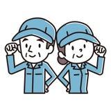 Bejaarden en vrouwen in het werkkleren stock illustratie