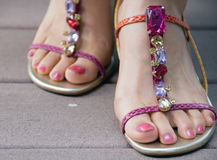 Bejeweled sandals Stock Image