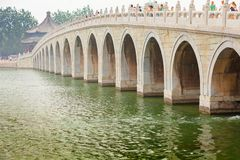 17 arch bridge over Kunming Lake Summer Palace Beijing China Stock Image