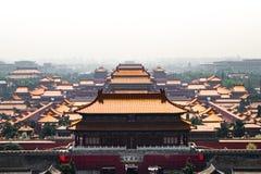 Bejings Forbidden City från över Arkivfoto