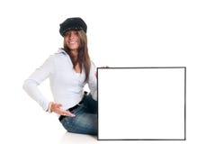 Bekanntmachen der modernen Frau lizenzfreie stockbilder