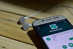 BEKASI, JAVA AD OVEST, INDONESIA 28 GIUGNO 2018: WhatsDirect dall'applicazione dello sviluppatore di Google sullo schermo di Smar Fotografia Stock Libera da Diritti