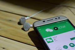 BEKASI VÄSTRA JAVA, INDONESIEN JULI 04, 2018: WeChat bärare-applikation på den Smartphone skärmen WeChat är en develo för freewar royaltyfri bild