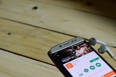 BEKASI VÄSTRA JAVA, INDONESIEN JUNI 26, 2018: Amasonen går bärare-applikationen på den Smartphone skärmen Amasonen Go är en freew Royaltyfri Foto