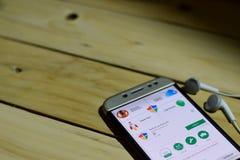 BEKASI VÄSTRA JAVA, INDONESIEN JUNI 26, 2018: Antivirus Android vid Google bärare-applikation på den Smartphone skärmen Antivirus Royaltyfri Fotografi