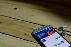 BEKASI VÄSTRA JAVA, INDONESIEN JUNI 26, 2018: Applikation 2018 för FIFA världscupRyssland bärare på den Smartphone skärmen Repres Royaltyfri Foto