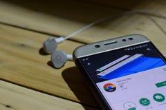 BEKASI VÄSTRA JAVA, INDONESIEN JUNI 28, 2018: Chrome bärare vid Google bärare-applikation på den Smartphone skärmen Chrome bärare Royaltyfri Bild