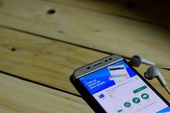 BEKASI VÄSTRA JAVA, INDONESIEN JUNI 26, 2018: Mappar passerar Google bärare-applikation på den Smartphone skärmen Frigör upp utry Fotografering för Bildbyråer