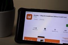 Akulaku dev application on Smartphone screen. Shop on Installment Without Credit. BEKASI, WEST JAVA, INDONESIA. APRIL 5, 2019 : Akulaku dev application on royalty free stock image