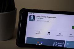 Bring! Grocery Shopping List dev application on Smartphone screen. Bring! is a. BEKASI, WEST JAVA, INDONESIA. APRIL 5, 2019 : Bring! Grocery Shopping List dev royalty free stock image