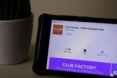 Club Factory dev application on Smartphone screen. Online Shopping is a freeware web. BEKASI, WEST JAVA, INDONESIA. APRIL 5, 2019 : Club Factory dev application stock images