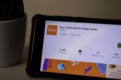 Etsy: Handmade & Vintage Goods dev application on Smartphone screen. Etsy is a. BEKASI, WEST JAVA, INDONESIA. APRIL 5, 2019 : Etsy: Handmade & Vintage Goods dev royalty free stock photography