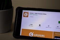 Grofers - Order Grocery Online dev application on Smartphone screen. Grofers is a. BEKASI, WEST JAVA, INDONESIA. APRIL 5, 2019 : Grofers - Order Grocery Online stock images