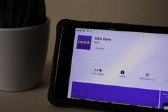 IKEA Store dev application on Smartphone screen. IKEA Store is a freeware web. BEKASI, WEST JAVA, INDONESIA. APRIL 5, 2019 : IKEA Store dev application on stock photography