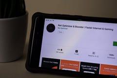 Net Optimizer & Booster dev application on Smartphone screen. Faster Internet &. BEKASI, WEST JAVA, INDONESIA. APRIL 5, 2019 : Net Optimizer & Booster dev royalty free stock photos