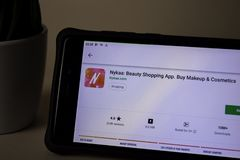 Nykaa: Beauty Shopping dev application on Smartphone screen. Buy Makeup & Cosmetics. BEKASI, WEST JAVA, INDONESIA. APRIL 5, 2019 : Nykaa: Beauty Shopping dev stock images