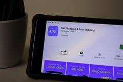 Tiki Shopping dev application on Smartphone screen. Fast Shipping is a freeware web. BEKASI, WEST JAVA, INDONESIA. APRIL 5, 2019 : Tiki Shopping dev application royalty free stock image