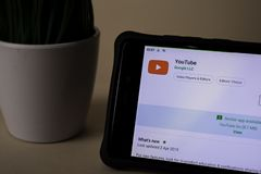 YouTube dev application on Smartphone screen. YouTube is a freeware web browser. BEKASI, WEST JAVA, INDONESIA. APRIL 5, 2019 : YouTube dev application on stock photos