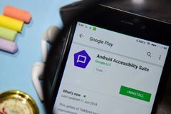 Android Accessibility Suite dev app with magnifying on Smartphone screen. BEKASI, WEST JAVA, INDONESIA. DECEMBER 20, 2018 : Android Accessibility Suite dev app stock image