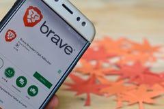 Brave Browser: Fast adBlocker App on Smartphone screen. BEKASI, WEST JAVA, INDONESIA. JULY 30, 2018 : Golf Brave Browser: Fast adBlocker App on Smartphone stock photography
