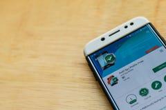 : Anti Spy Mobile Free dev application on Smartphone screen. BEKASI, WEST JAVA, INDONESIA. JUNE 3, 2019 : Anti Spy Mobile Free dev application on Smartphone stock images