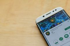 AntiVirus Android 2018 dev application on Smartphone screen. BEKASI, WEST JAVA, INDONESIA. JUNE 3, 2019 : AntiVirus Android 2018 dev application on Smartphone royalty free stock images