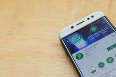 Antivirus Cleaner dev application on Smartphone screen. BEKASI, WEST JAVA, INDONESIA. JUNE 3, 2019 : Antivirus Cleaner dev application on Smartphone screen royalty free stock photo