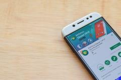 Antivirus Cleaner : Wifi Security & Booster dev application on Smartphone screen. BEKASI, WEST JAVA, INDONESIA. JUNE 3, 2019 : Antivirus Cleaner : Wifi Security royalty free stock photo