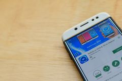 Antivirus 2018 & Virus Cleaner dev application on Smartphone screen. BEKASI, WEST JAVA, INDONESIA. JUNE 3, 2019 : Antivirus 2018 & Virus Cleaner dev application royalty free stock image