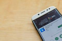 : Anti Spy Mobile Free dev application on Smartphone screen. BEKASI, WEST JAVA, INDONESIA. JUNE 3, 2019 :: Anti Spy Mobile Free dev application on Smartphone royalty free stock image
