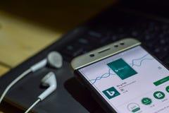 Bing Ads dev application on Smartphone screen. BEKASI, WEST JAVA, INDONESIA. JUNE 5, 2019 : Bing Ads dev application on Smartphone screen. Bing Ads is a freeware stock photography
