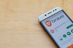 Brave Browser: Fast AdBlocker dev application on Smartphone screen. BEKASI, WEST JAVA, INDONESIA. JUNE 3, 2019 : Brave Browser: Fast AdBlocker dev application stock photos