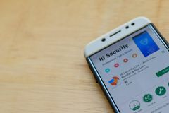 Hi Security Lite - Antivirus, Booster & App Lock dev application on Smartphone screen. BEKASI, WEST JAVA, INDONESIA. JUNE 3, 2019 : Hi Security Lite - Antivirus royalty free stock photography