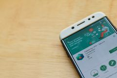 Kaspersky VPN - Secure Connection dev application on Smartphone screen. BEKASI, WEST JAVA, INDONESIA. JUNE 3, 2019 : Kaspersky VPN - Secure Connection dev royalty free stock photography