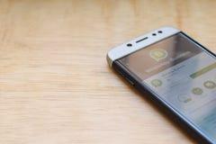 WhatsApp Business dev application on Smartphone screen. BEKASI, WEST JAVA, INDONESIA. JUNE 3, 2019 : WhatsApp Business dev application on Smartphone screen royalty free stock photography