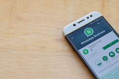 WhatsApp Business dev application on Smartphone screen. WhatsApp Business is a freeware web browser developed by WhatsApp Inc. BEKASI, WEST JAVA, INDONESIA. JUNE stock image