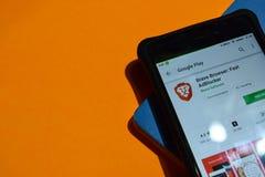 Brave Browser: Fast AdBLocker dev app on Smartphone screen. BEKASI, WEST JAVA, INDONESIA. OCTOBER 8, 2018 : Brave Browser: Fast AdBLocker dev app on Smartphone stock images