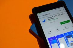 Microsoft To-DO: List, Task & Reminder dev app on Smartphone screen. royalty free stock photo
