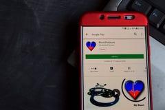 Blood Pressure dev app on Smartphone screen. BEKASI, WEST JAVA, INDONESIA. SEPTEMBER 21, 2018 : Blood Pressure dev app on Smartphone screen. Blood Pressure is a stock photography