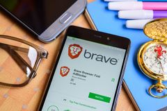 Brave Browser: Fast AdBlocker App on Smartphone screen. BEKASI, WEST JAVA, INDONESIA. SEPTEMBER 1, 2018 : Brave Browser: Fast AdBlocker App on Smartphone screen royalty free stock image