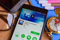 Photon Flash Player & Browser dev app on Smartphone screen. BEKASI, WEST JAVA, INDONESIA. SEPTEMBER 2, 2018 : Photon Flash Player & Browser dev app on stock photo
