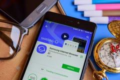 Samsung Internet Browser dev app on Smartphone screen. BEKASI, WEST JAVA, INDONESIA. SEPTEMBER 2, 2018 : Samsung Internet Browser dev app on Smartphone screen royalty free stock image
