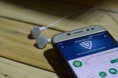 BEKASI, ZACHODNI JAWA, INDONEZJA LIPIEC 04, 2018: Browsec VPC dev zastosowanie na Smartphone ekranie Bezpłatny i Nieograniczony V Zdjęcie Stock