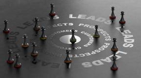 Bekehrte Führungen in Kunden und in Verkäufe, Inlandsmarketing Concep stock abbildung